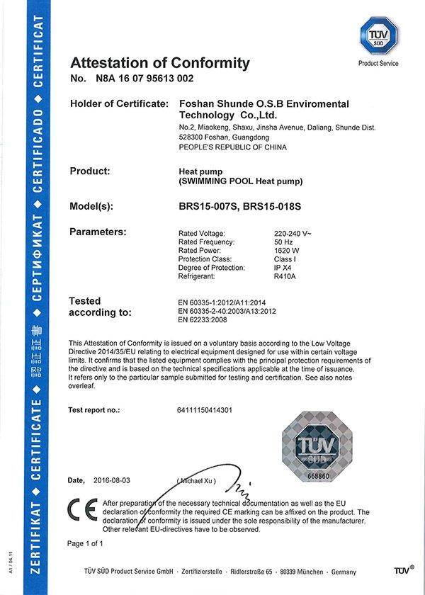 TUV EN60335 Certificate for OSB swimming pool heat pump BRS15-007S/BRS15-018S 220V  50HZ