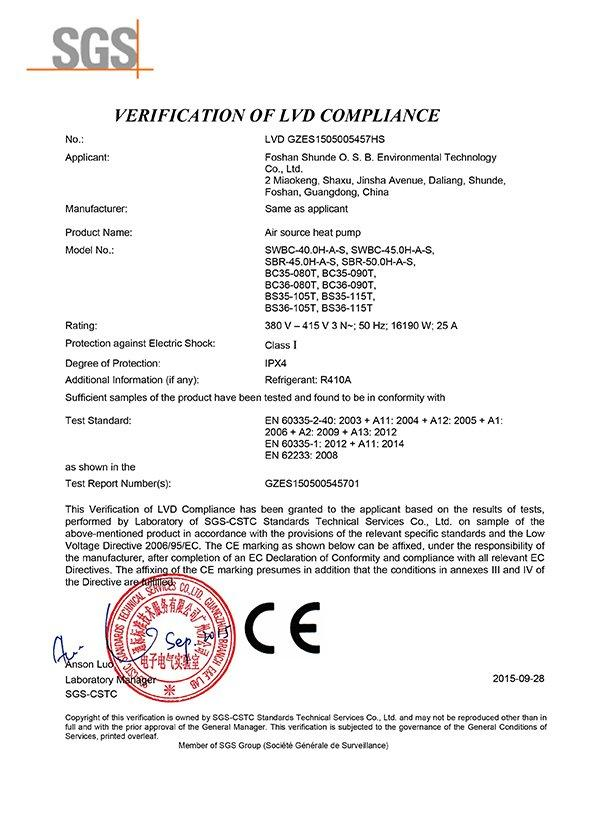 SGS CE Certificate for OSB metal swimming pool heat pump 380V 50HZ