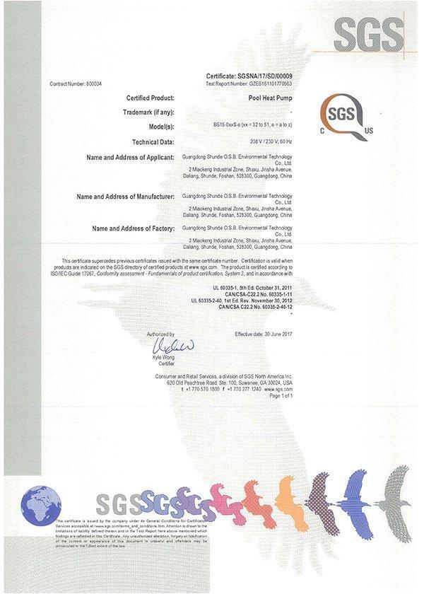 SGS NA CUS Certificate for OSB plastic swimming pool heat pump 208V/230V,60HZ